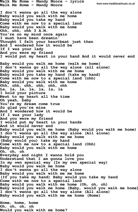 song lyrics for walk me home mandy