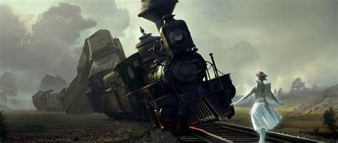 wallpaper engine keeps crashing art train railroad girl wings crash fantasy fairy angel