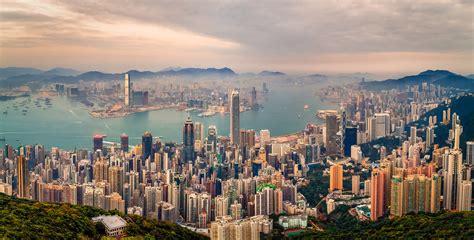 high resolution hdr drone panorama  hong kong  twiligh