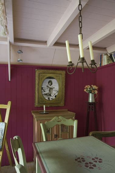 Bien Salle A Manger En Bois Gris #5: Salle-a-manger-couleur-peinture-rose-table-couleur-vert-V33.jpg