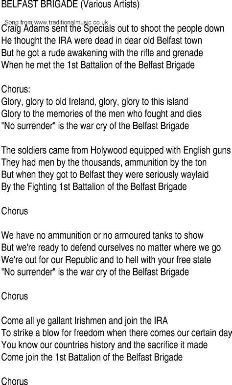 we were soldiers soundtrack lyrics 11 song lyrics irish music song and ballad lyrics for belfast brigade