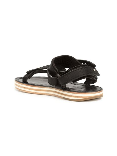 black flat strappy shoes sacai strappy flat sandals in black for lyst