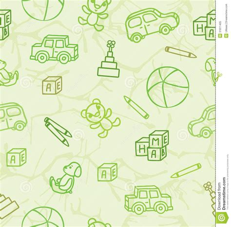 pattern drawing toy pattern with toys on a light green background royalty free
