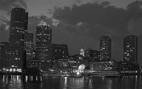 cityscape wallpaper in black and white by lutece boston skyline wallpapers wallpaper cave