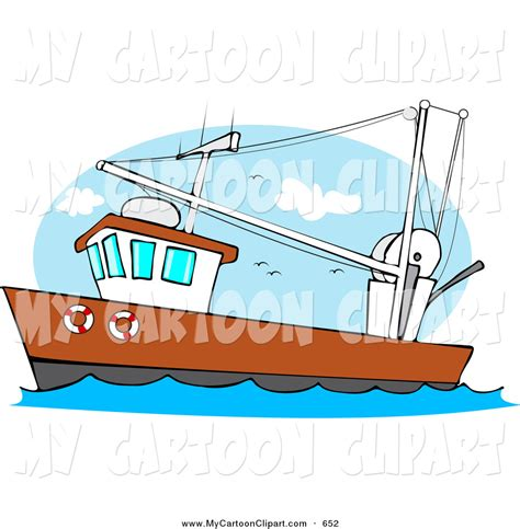 cartoon boat waves clip art of a trawler fishing boat at sea on the waves by