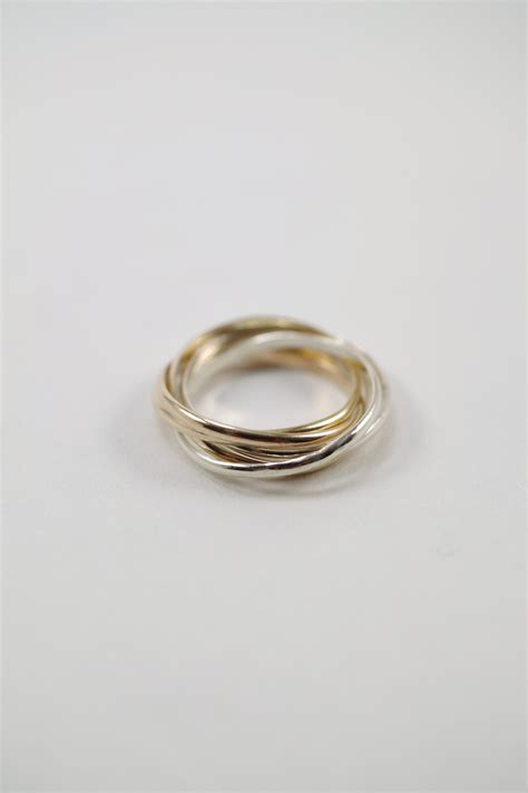 thin interlocking rings sterling silver 14k gold fill