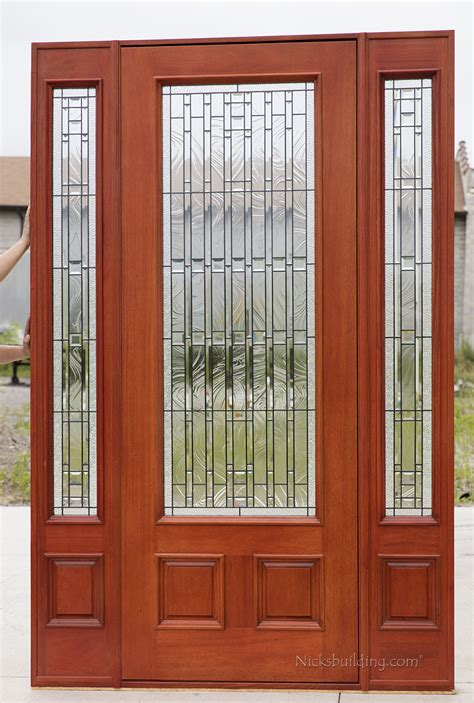Exterior Mahogany Doors Pfc 252 Walnut Stained Glass Entry Doors With Sidelights