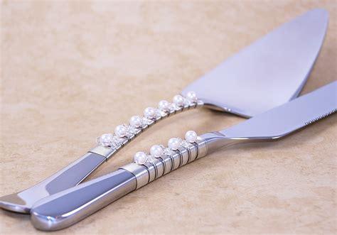 Wedding Cake Knife by Swarovski And Pearl Wedding Cake Server And Knife Set