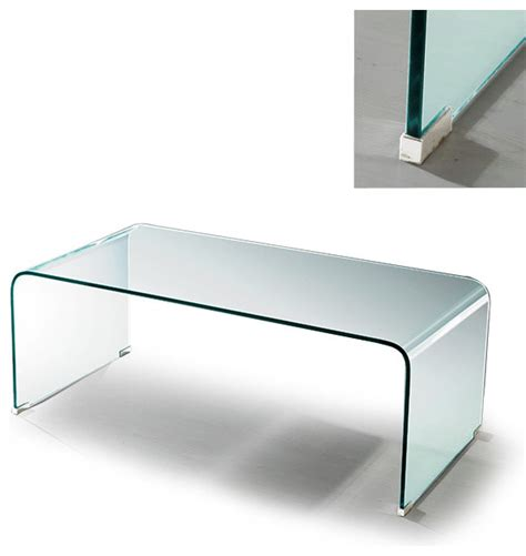 bent glass coffee table modern clear bent glass rectangular coffee table volcano