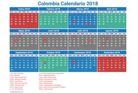 Calendario 2017 Feriados Colombia Calendario De Colombia 2018 D 237 As Festivos Feriados Y