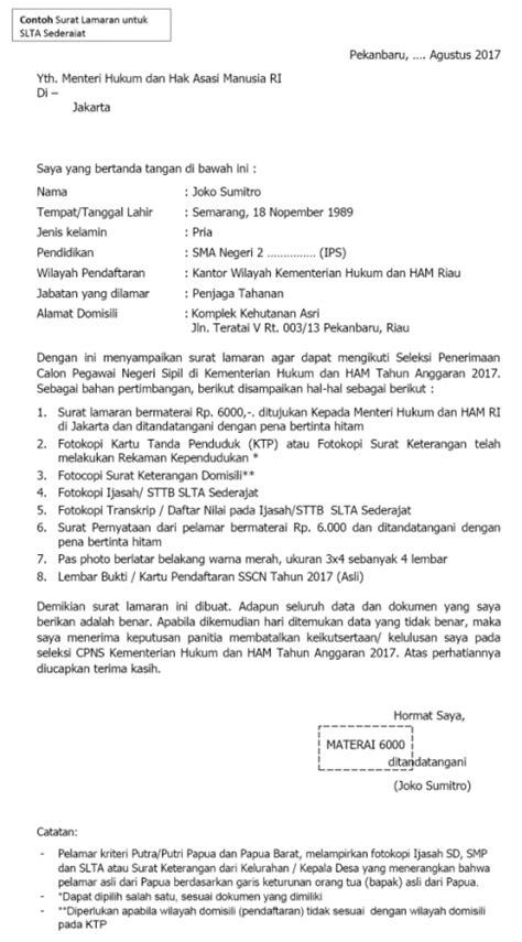 Format Surat Lamaran Untuk Ke Kejagung by Contoh Surat Lamaran Pernyataan Cpns Kemenkumham 2017