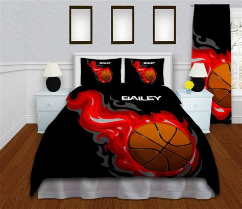 basketball bed set personalized comforter for boys kids sports bedding basketball bedding sets red