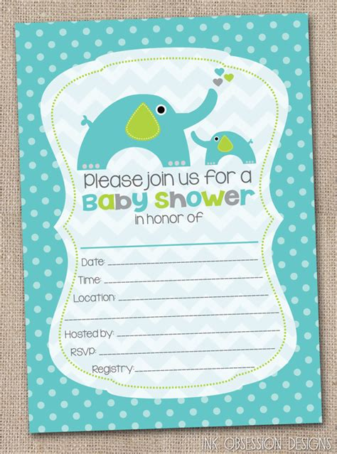 Blank Baby Shower Invitations by Ink Obsession Designs Fill In The Blank Elephant Baby