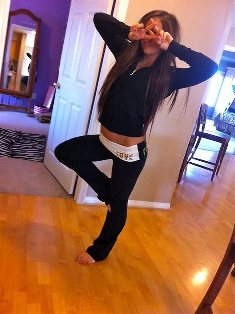 victorias secret pink love yoga sweats black  black