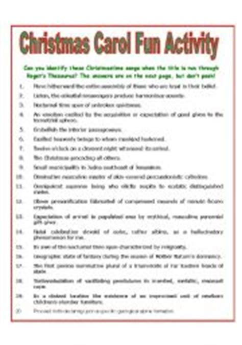 collection of christmas carol worksheets printable english worksheet christmas carol fun activity
