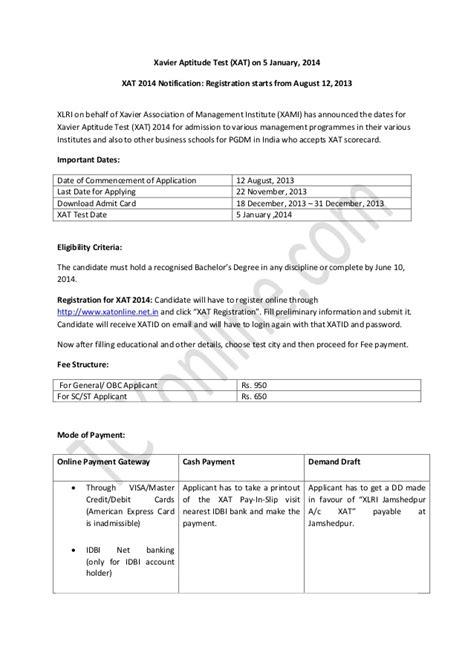 xat test pattern 2014 xat 2014 notification registration starts from august 12