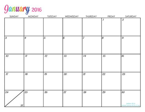 printable january 2016 daily planner 2016 free printable calendars lolly jane