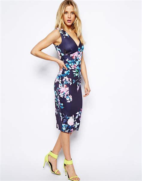 Dress Mini Flowery Navy Fetira Dress Bunga Navy Fetira asos pastel floral plunge dress in blue lyst