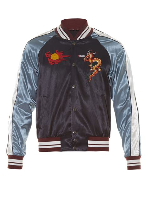 Applique Baseball Jacket lyst valentino embroidered satin baseball jacket
