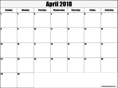 april 2018 calendar printable page april 2018 free printable blank calendar collection