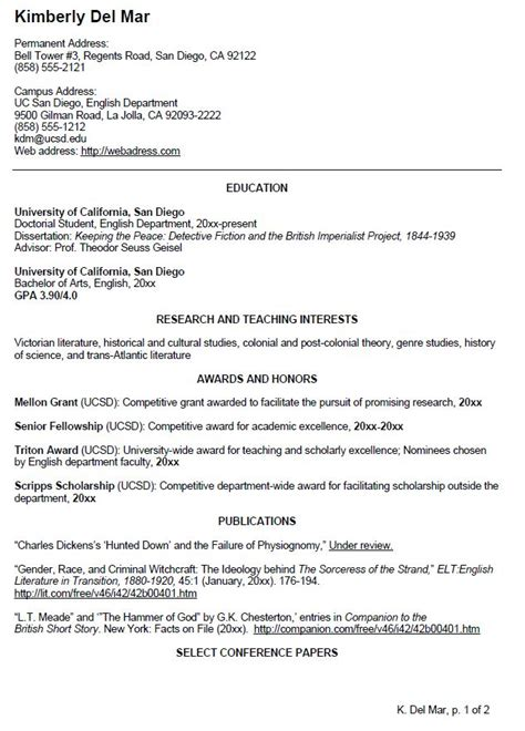 Undergraduate Resume Template by Writing Your Cv