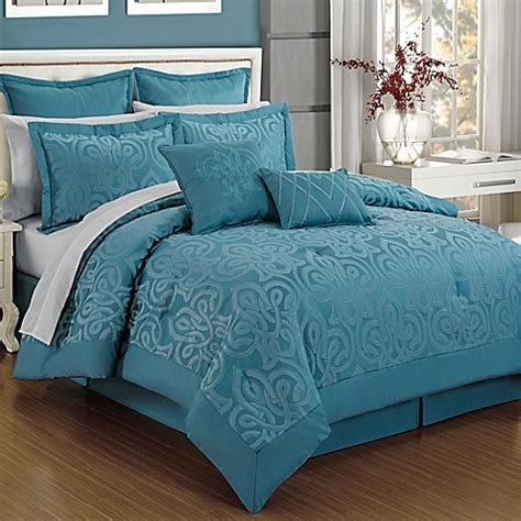 curtis damask 12 piece comforter set in turquoise bed
