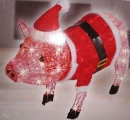 27 034 santa pig lighted acrylic indoor outdoor pink
