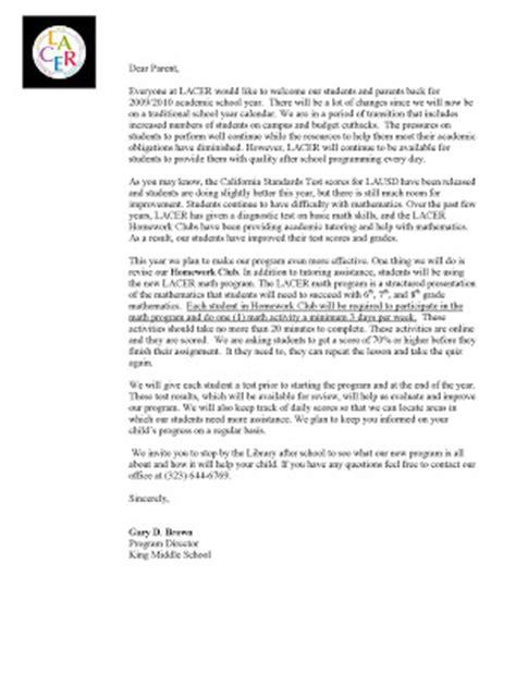 Parent Letter For No Homework King Homework Club
