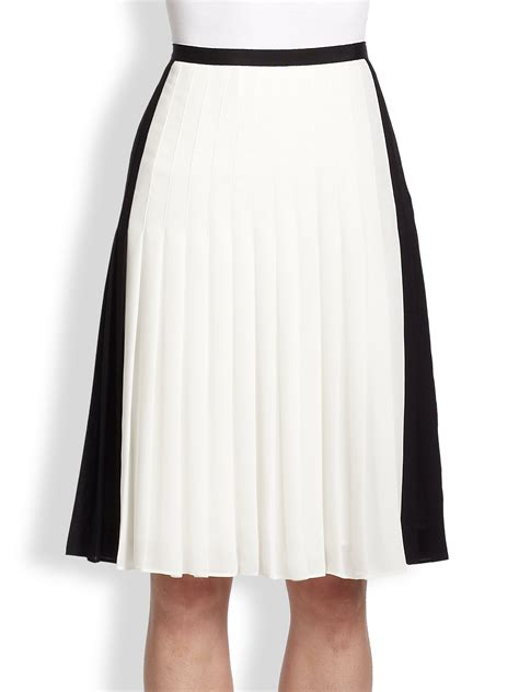 vince two tone pleated skirt in black lyst