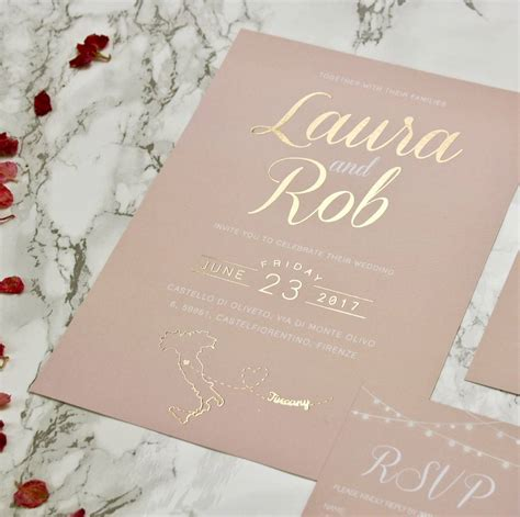 wedding day and invites type blush and gold wedding invites designed by rodo creative