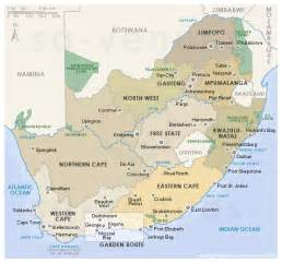 Outline Map Of South Africa With Major Cities by South Africa Provinces