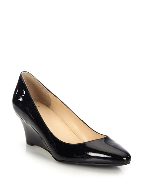 Patent Pumps cole haan patent leather wedge pumps in black lyst