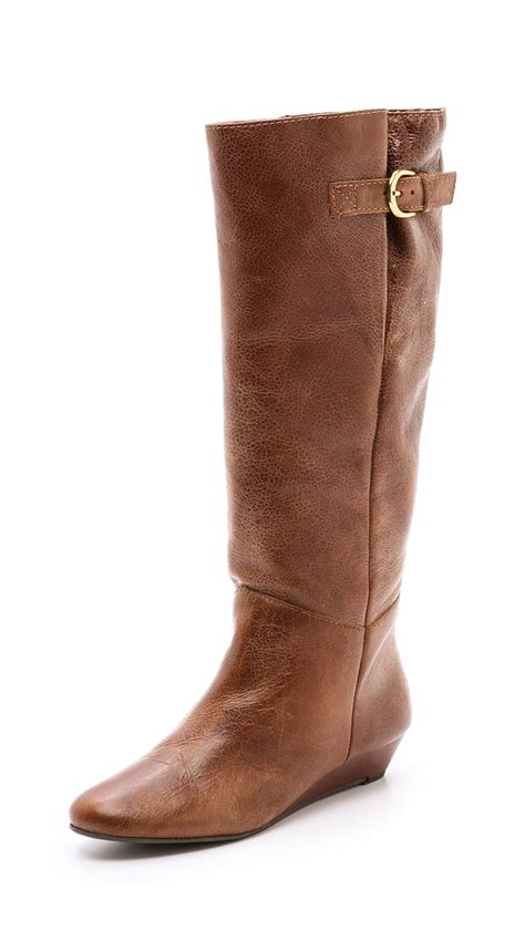 steve madden wedge boots steven by steve madden intyce wedge boots in brown lyst