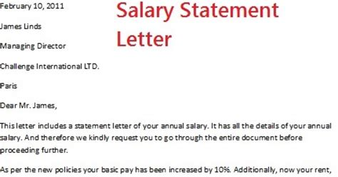 Salary Certificate Letter To Embassy Salary Statement Letter