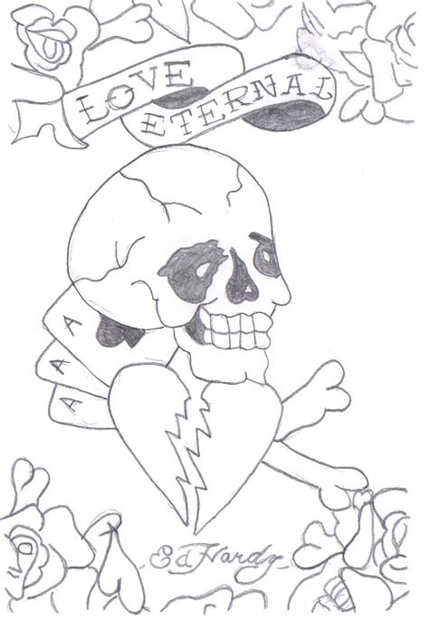 ed hardy coloring page ed hardy drawings designs sketch coloring page