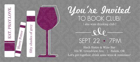 purple and gray wine glass book club invitations template