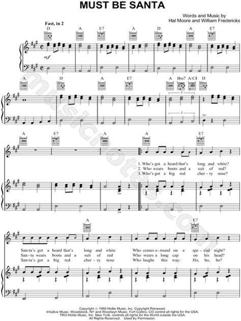 printable lyrics must be santa bob dylan quot must be santa quot sheet music in a major