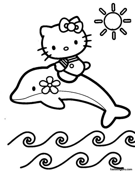 Print Out Coloring Pages Of Dolphin With Hello Kitty Dolphin Coloring Pages To Print Out
