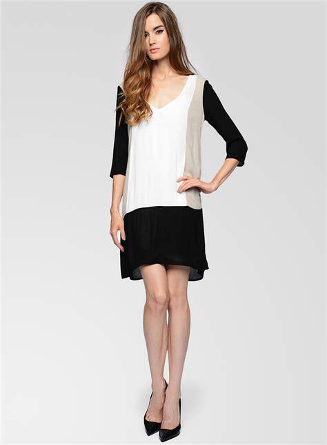 ella moss stella crepe colorblock dress in black lyst