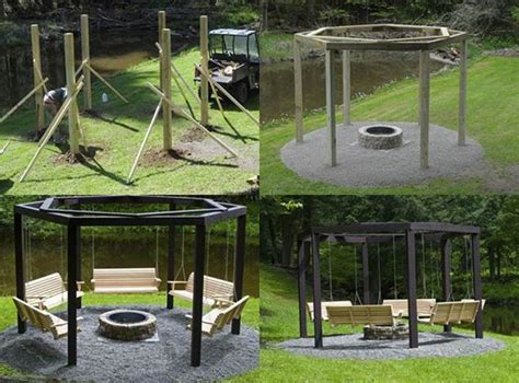 Diy Backyard Fire Pit With Swing Seats Diy Backyard Pit Ideas