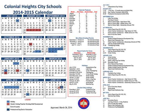 Colonial School District Calendar Colonial Heights High School Events Calendar