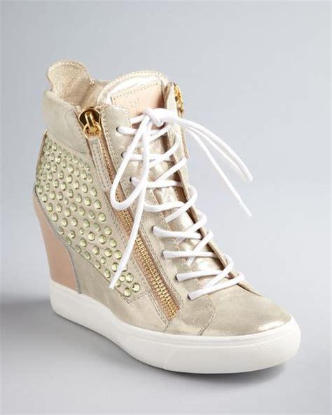 giuseppe zanotti lorenz wedge sneakers giuseppe zanotti wedge sneaker booties lorenz in beige