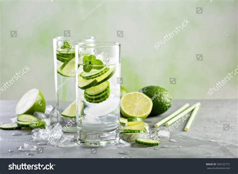 Cold Flu Detox Water by Cold Refreshing Infused Detox Water Lime Stock Photo