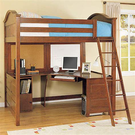 Full Size Loft Bed With Desk On Pinterest Girls Bedroom Bunk Bed With Computer Desk