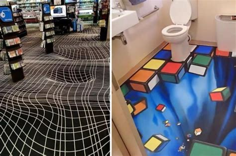 bathroom floor illusions these floor optical illusions are basically a drunk person