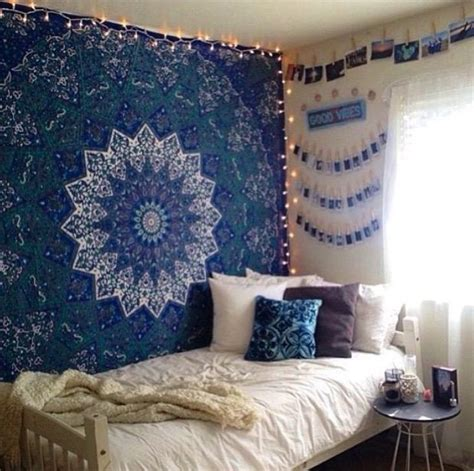 bedroom blue decor cozy tapestry white room