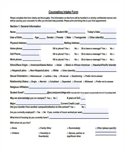 counseling intake form template 48 counseling form exles