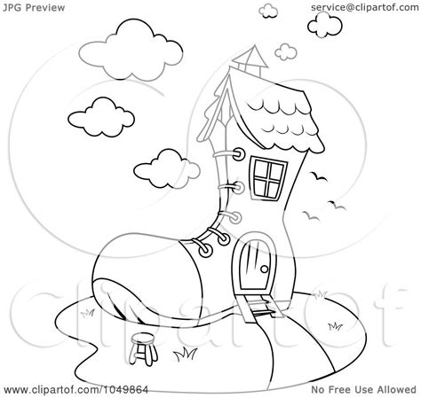 shoe house coloring pages royalty free rf clip art illustration of a coloring page