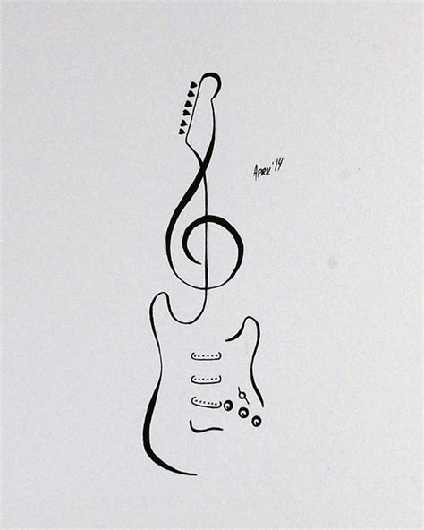 simple guitar tattoo design tattoo flash stratocaster guitar by aprilsink tattoos