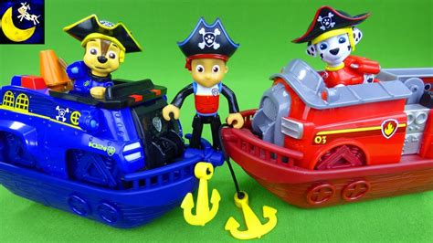 paw patrol boat rescue paw patrol marshall and chase pirate ship boat vehicles